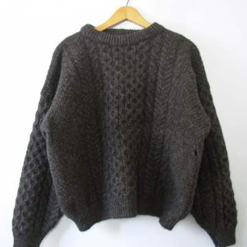 5f141cf0b ... Vintage 80 s dark charcoal grey chunky cable knit wool sweater