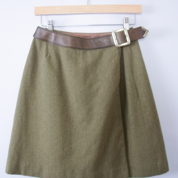 Vintage 60's moss green wool mini skirt with brown leather belt, women's size 4