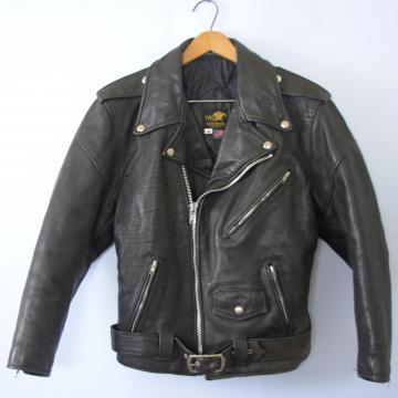 Vintage 90's black leather motorcycle jacket, women's size 38 / XS