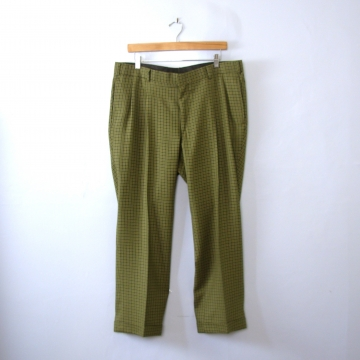 Vintage 90's green plaid pleated wool pants / trousers, men's size 38