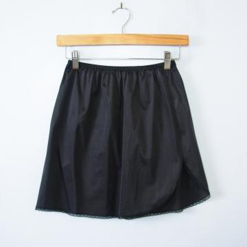 90's black silky slip mini skirt, women's small