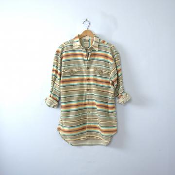 Vintage 90's desert striped button up shirt, size medium