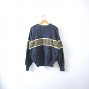 Vintage 90's grunge oversized wool sweater, dark blue and light grey stripes, size XL