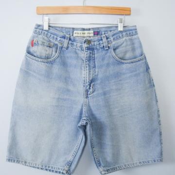 Vintage 90's Distressed Bugle Boy light blue denim shorts, men's size 32 / 30