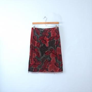 Vintage 90's paisley red velvet skirt with beading, size medium