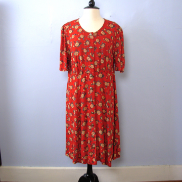 ba4df2ee948 Vintage 90 s grunge red sunflower floral midi dress