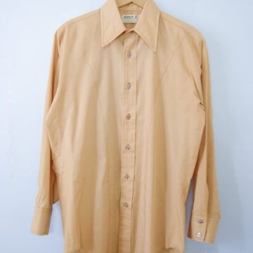 Vintage 70's caramel brown button up western shirt, men's size small