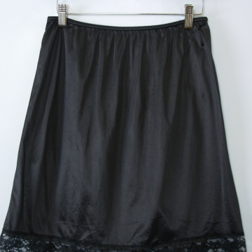 80's black silky slip mini skirt, women's large