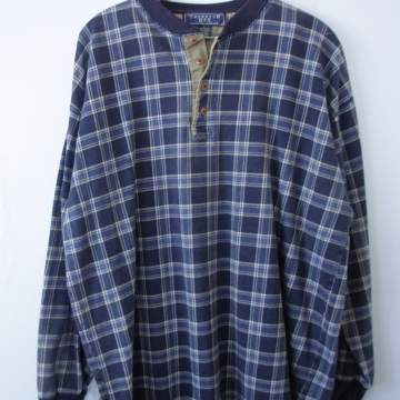 90's blue plaid henley shirt long sleeved, men's large
