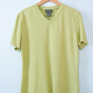 90's NY and CO celery green ribbed knit shirt, women's size medium