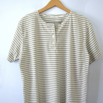 Vintage 90's white and green striped henley shirt, women's size large