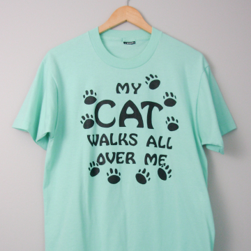 70's My Cat Walks All Over Me tee shirt, size large