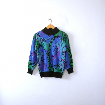 Vintage 80's blue electric floral sweater, women's size small