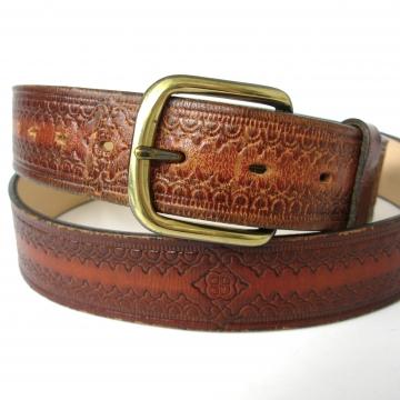 Vintage 90's tooled brown leather belt, size XL / 44