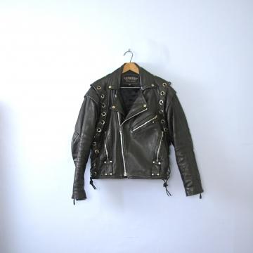 Vintage 80's black leather motorcycle jacket, men's size 40 / medium