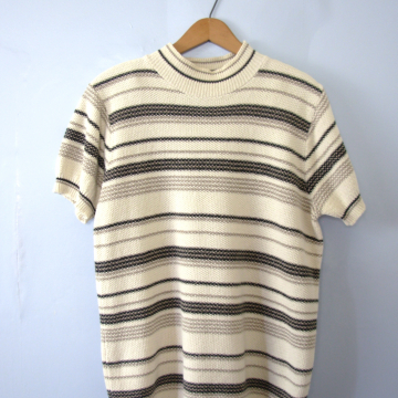Vintage 90's beige striped sweater with mock turtleneck and short sleeves, women's size small / medium