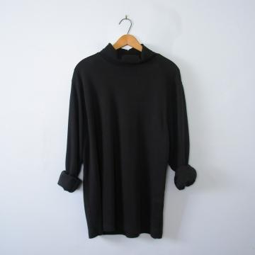 Vintage 90's black turtleneck long sleeved shirt, men's size large