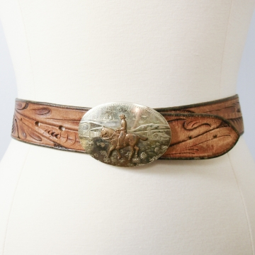 Vintage 70's distressed tooled brown leather western belt, size xs / small