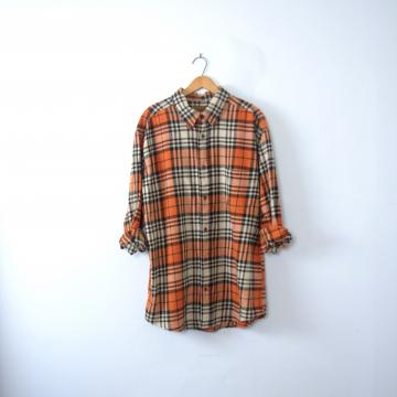 Vintage 90's grunge orange flannel shirt, pumpkin plaid button up, size XL tall