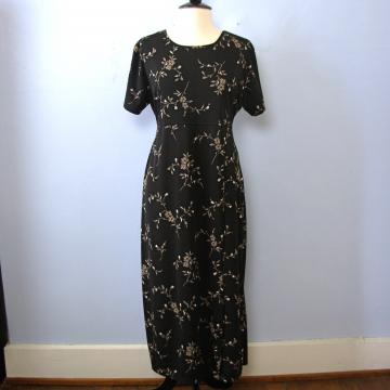 Vintage 90's grunge black floral maxi dress, size XL
