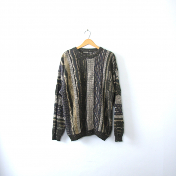 Vintage 80's black and green striped wool sweater, size XL