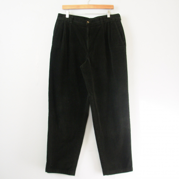 90's black corduroy pleated pants with tapered leg, men's size 34
