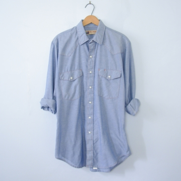 Vintage 90's Big Mac chambray denim western shirt with pearl snap buttons, men's size large