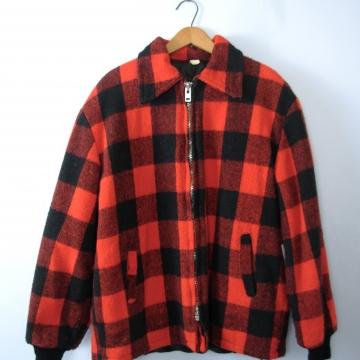 Vintage 70's red and black plaid jacket, lumberjack flannel coat, men's size large