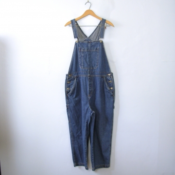 Vintage 90's blue denim carpenter overalls capri short length, women's size large / medium