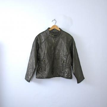 Vintage 90's black leather motorcycle jacket, women's size medium / large