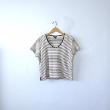 Vintage 90's black and white ribbed knit striped shirt, crop top tee, women's size XL / large