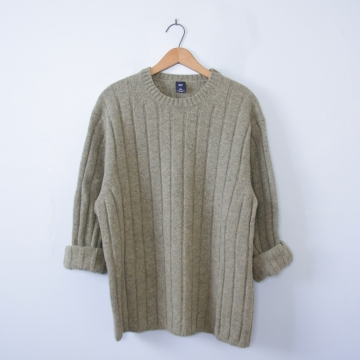 Vintage 90's moss green wool oversized ribbed knit sweater, men's size XL