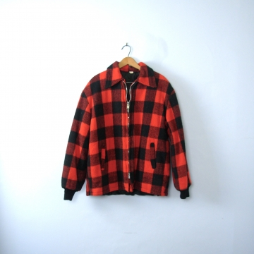 Vintage 70's red and black plaid jacket, lumberjack flannel coat, men's size large