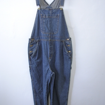 Vintage 90's blue denim carpenter overalls capri short length, women's size large / medium