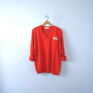Vintage 60's red champion sweater, collegiate sweater, size XL / large