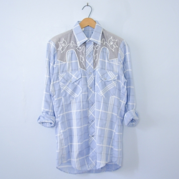 Vintage 80's light blue plaid western shirt with pearl snap buttons, men's size small