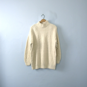 Vintage 80's off white cotton sweater, oversized sweater, women's size large
