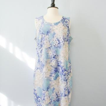 Y2K blue cherry blossom cyber body con dress, women's size 1X