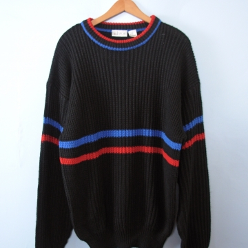 Vintage 80's black oversized comfy sweater, men's size XL