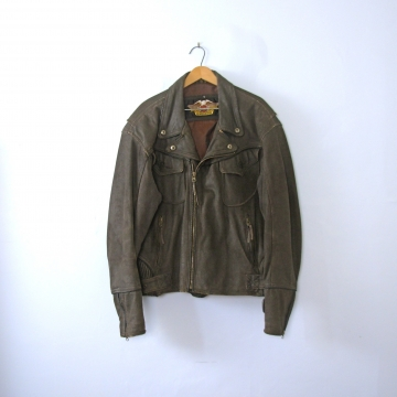 Vintage 80's Harley Davidson brown leather motorcycle jacket, men's size XL