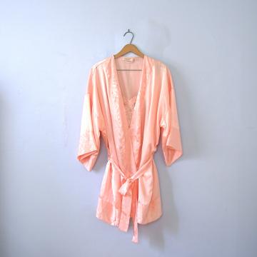 Vintage 90's Victoria's Secret peach kimono robe and slip set, women's size large