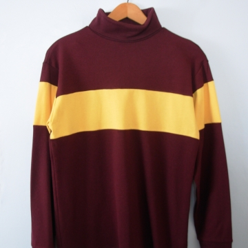 Vintage 90's wine and yellow turtleneck long sleeved shirt, women's size Large