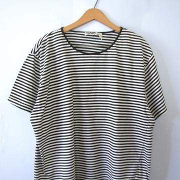Vintage 90's black and white striped boxy tee shirt, women's size XL