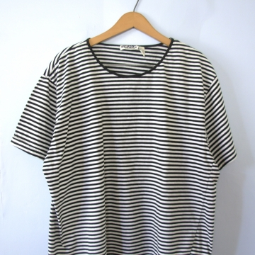 Vintage 90's black and white striped boxy tee shirt, women's size XL
