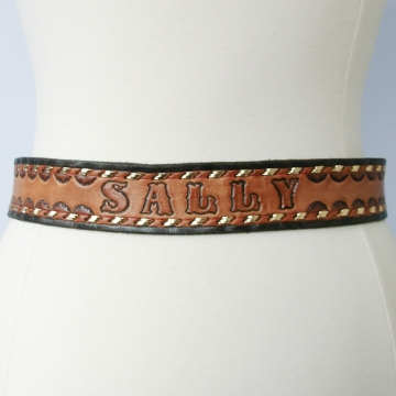 Vintage 90's Sally name brown leather western belt, size 34 / small