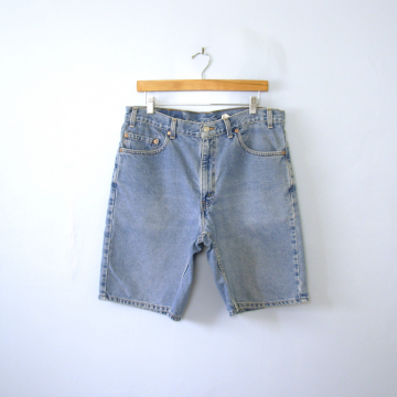 Vintage 90's Levi's 550 denim shorts, bermuda jean shorts, men's size 36