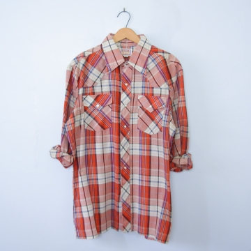 Vintage 70's Disco red plaid western shirt with pearl snap buttons, men's size XL