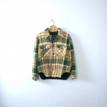 Vintage 60's beige and green plaid jacket, lumberjack flannel coat, men's size medium