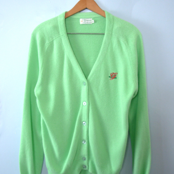 Vintage 80's retro Greenbrier West Virginia mint green cardigan sweater, women's size medium