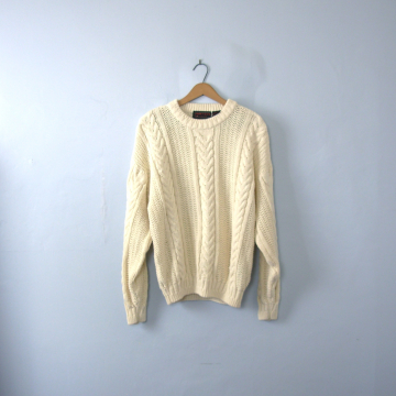 Vintage 80's off white oversized cable knit sweater, cream cotton sweater, size XL
